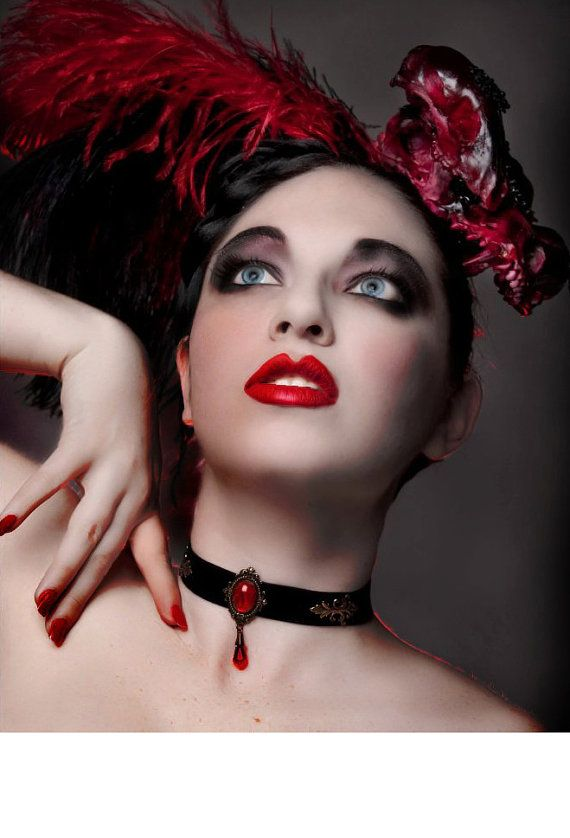 Black Velvet Choker Necklace Brass Choker Red Choker Black Choker Gothic Choker Victorian Choker Victorian Gothic Jewelry