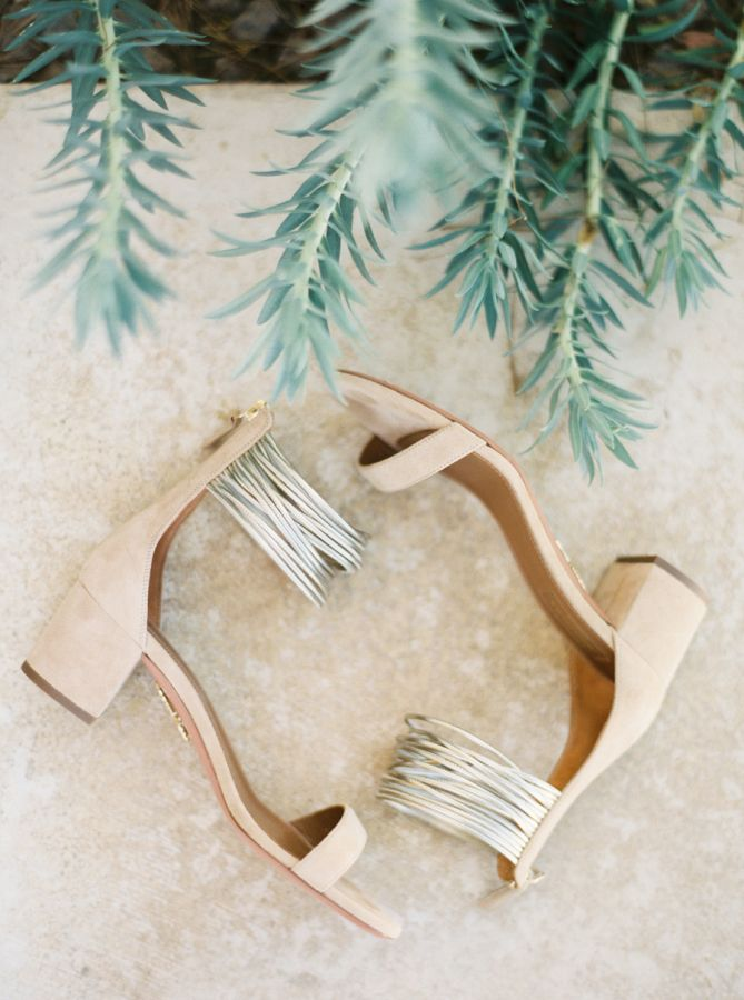 Nude block heels with metallic ankle straps: http://www.stylemepretty.com/2015/12/04/intimate-colorful-outdoor-wedding-at-gage-hotel/ | Photography: Jessica Scott Photography - http://www.jessicascottphoto.com/