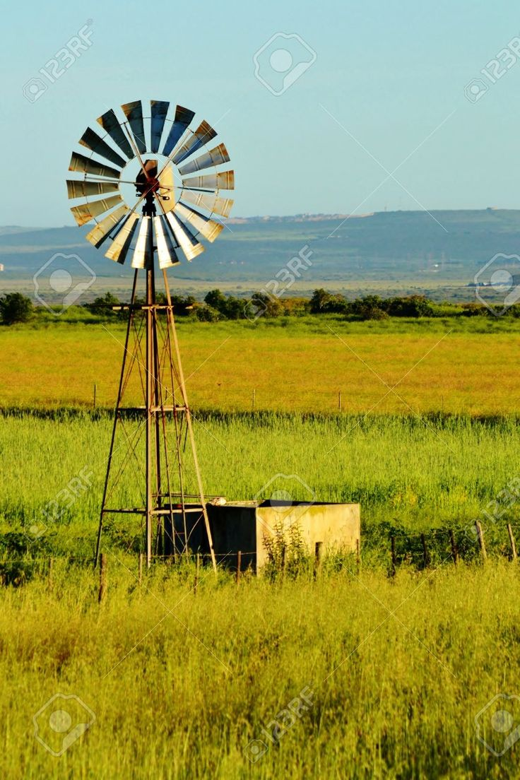 Landscape With Windmill Water Pump On A Farm Westerncape South ...