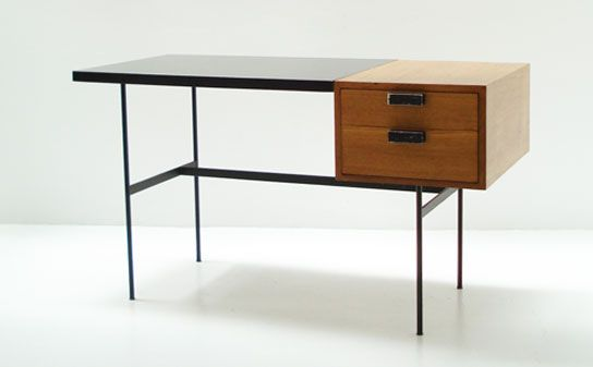 Pierre Paulin CM141 Desk designed in 1953 for Thonet, France. Oak wood box with two drawers and black Formica top, black metal base.