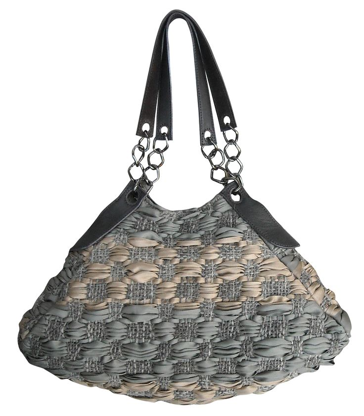 Luce bag in handwoven fabric primitivo bicolor natural and kaki. leather and chain handle