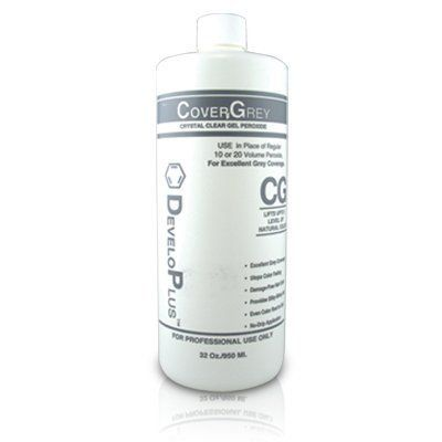 Developlus Cover Gray 34 oz. CoverGrey Crystal Clear Gel Peroxide is peroxide specially formulated to cover even the most resistant gray hair. It replaces the need for 20 volume hydrogen peroxide and works with all hair colors.