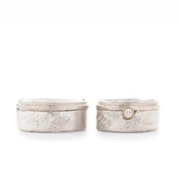Zilver trouwringen met detail in goud en diamant | Wim Meeussen &CTRA Zilveren Juwelen Antwerpen