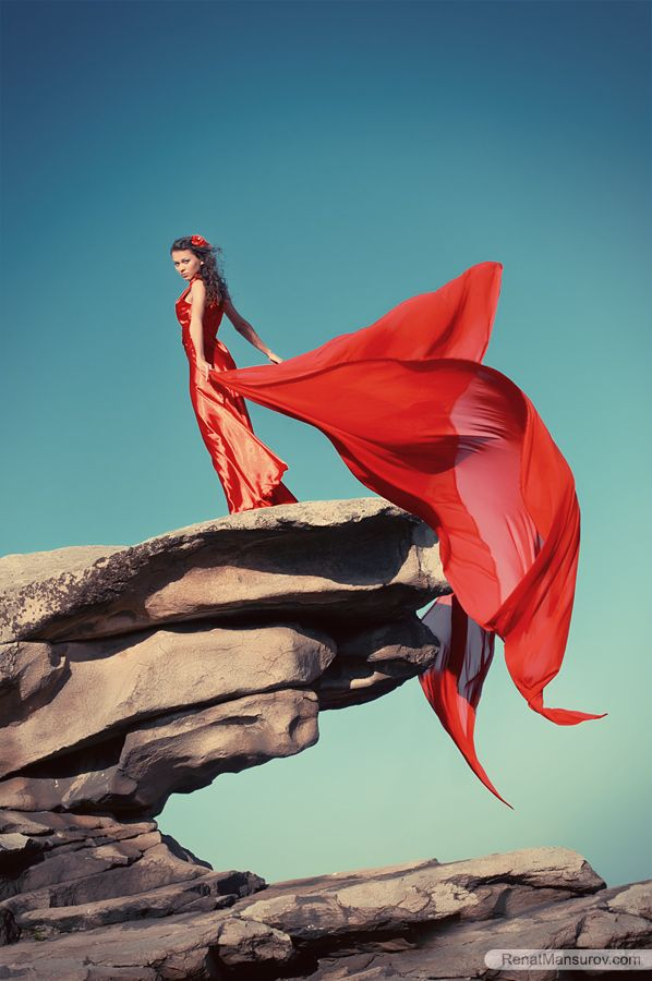 ...flowing red gown