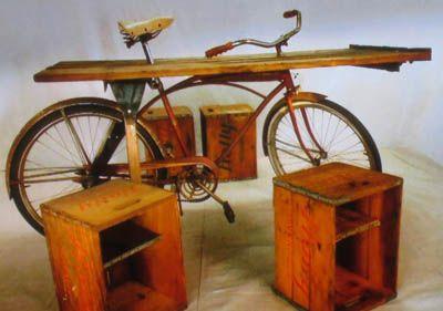 Bike made into a garden table via Flea Market Flip on HGTV