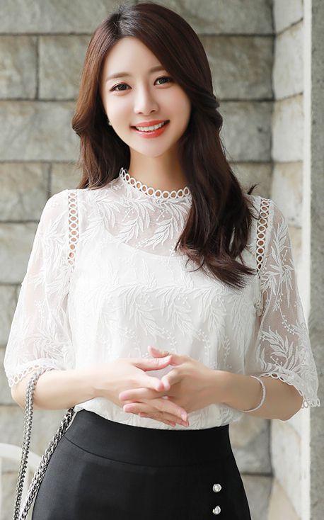 StyleOnme_Sheer Leaf Motif Lace Blouse Tank Top Set #white #floral #lace #blouse #koreanfashion #kstyle #kfashion #seoul #summertrend