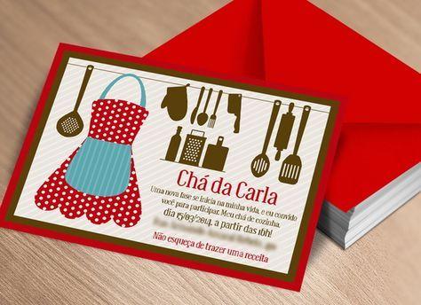 Convite Chá de Cozinha - Varal Vermelho