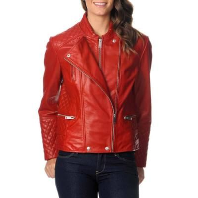 $232, Red Leather Biker Jacket: EXcelled Red Leather Motorcycle Jacket. Sold by Overstock. Click for more info: http://lookastic.com/women/shop_items/77103/redirect