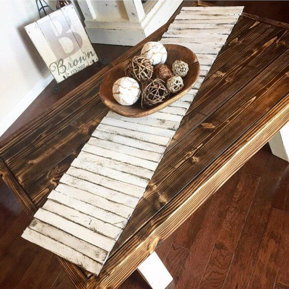 Wooden Table Runner Rustic Home Decor Tabletop Centerpiece