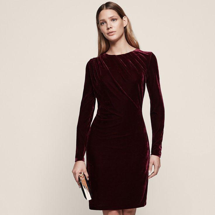 Matty velvet drapedetail dress reiss dress details