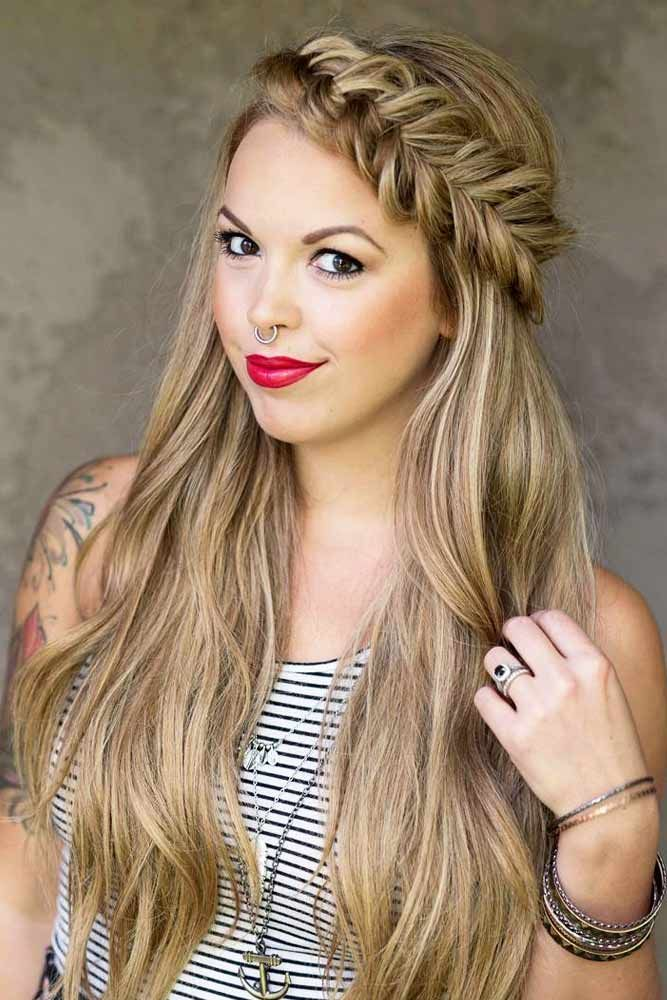 27 Flattering Hairstyles That Can Beautify Your Big Forehead Hair Styles Headband Hairstyles Long Hair Styles