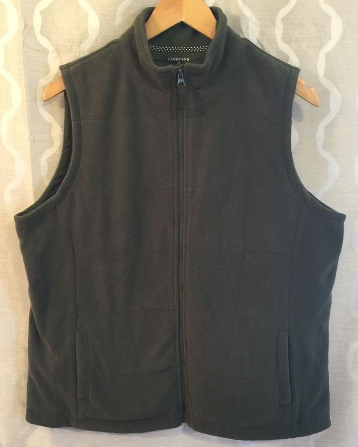 Lands End Womens Green Zip Up Fleece Vest Size Petite Large (14-16) Outdoors #LandsEnd