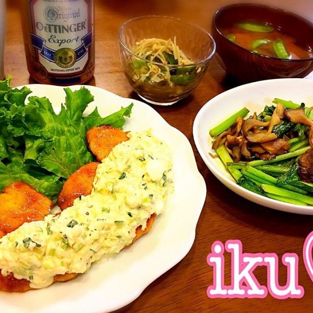 今日は7時からPTAのお仕事✌️ 急げ〜 子供の大好きなチキン南蛮には、自家製タルタルソースをたっぷりかけて - 131件のもぐもぐ - タルタルソースたっぷりチキン南蛮、舞茸と小松菜のガーリックバター醤油、オクラとえのきのお浸し、大根と絹さや、若芽のお味噌汁゚+。:.゚ஐ♡ by ichinana