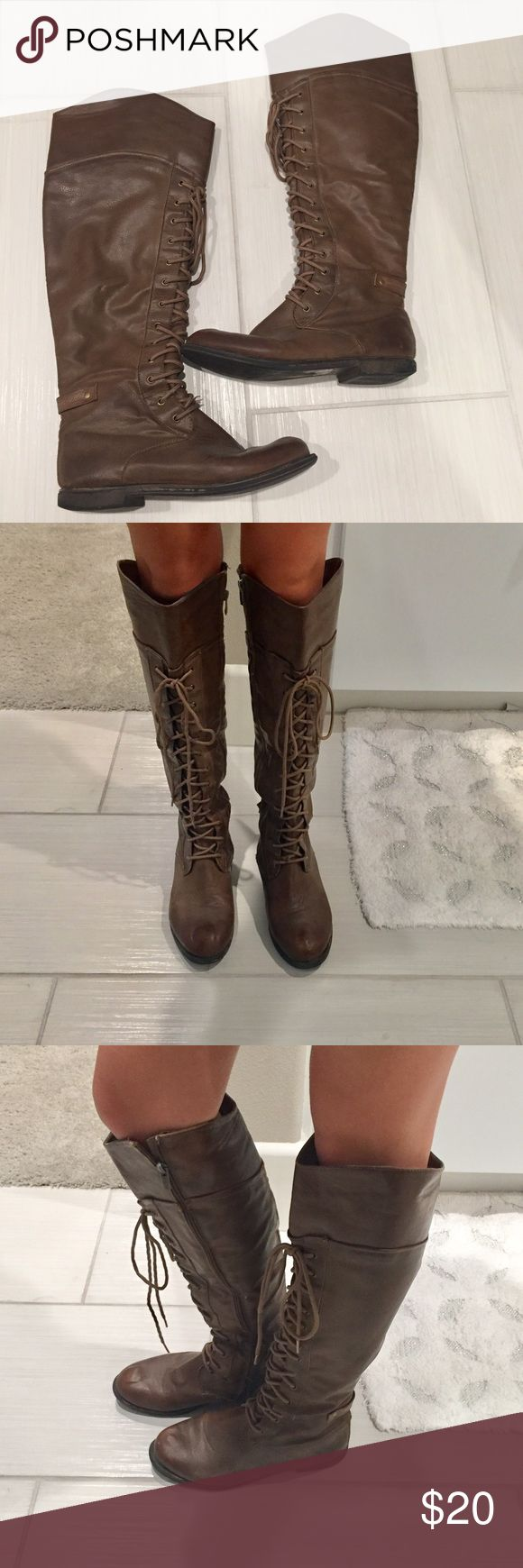 Tall lace up boots Tall lace up faux leather boots. Brown size 7. Used/good condition. Inside zipper and long laces. Soft inside lining. Similar but not exact to mode photo. De Blossom  Shoes Combat & Moto Boots