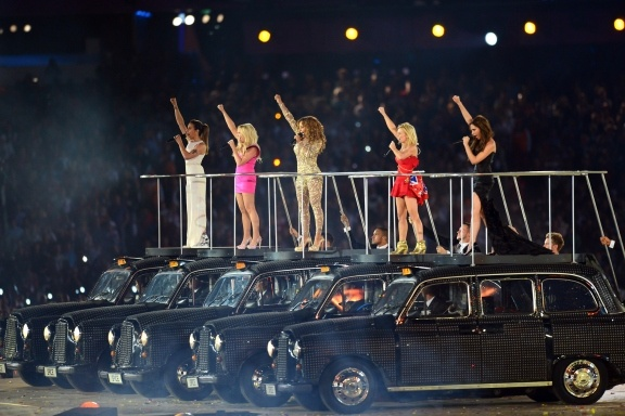 The Spice Girls performing at the 2012 Olympic Closing Ceremony