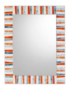 """Mosaic Mirror - Orange, White, Gray, 30"""" X 24"""", Vertical eclectic-wall-mirrors"""