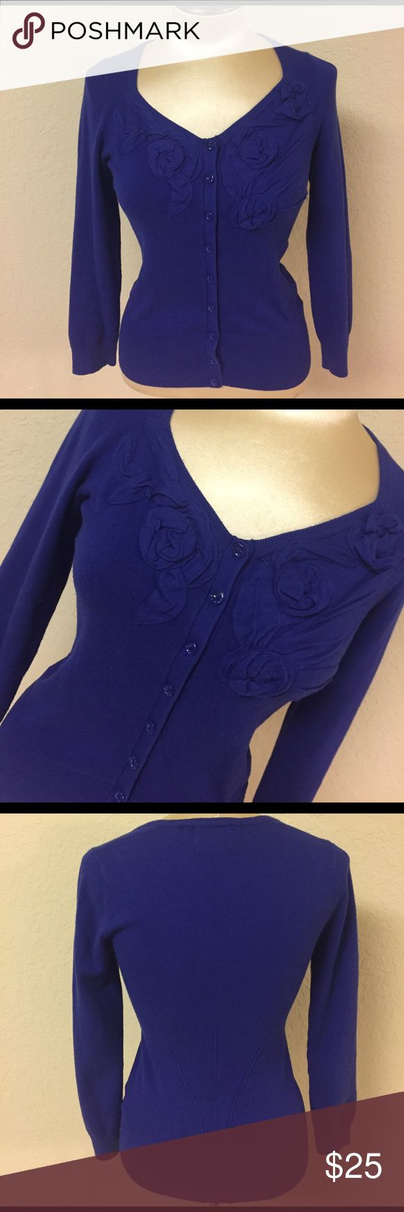 Selling this Anthropologie Royal Blue Sweater with Rose Details on Poshmark! My username is: hannahleigh870. #shopmycloset #poshmark #fashion #shopping #style #forsale #Anthropologie #Tops