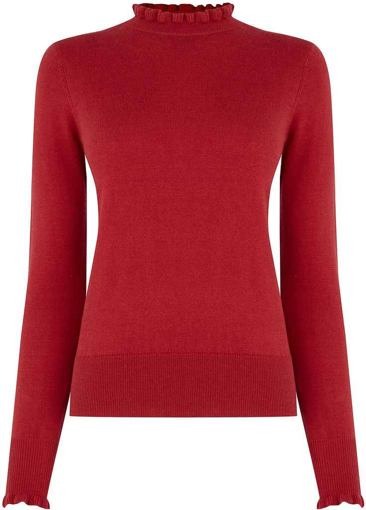 Womens carmine cute frill knit from Oasis - £28 at ClothingByColour.com