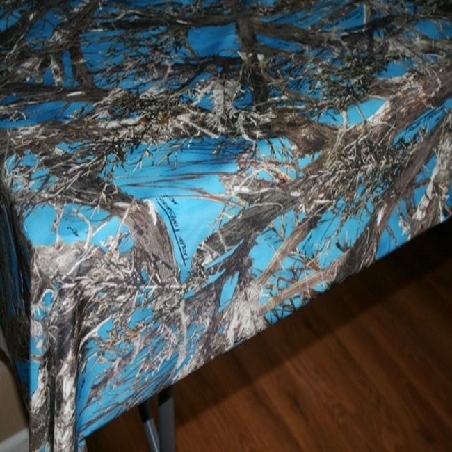 "This Blue Camo 58"" x 108"" fabric table cloth is just what you need for your camo wedding, or camo themed party.  Other sizes and camo designs are available."