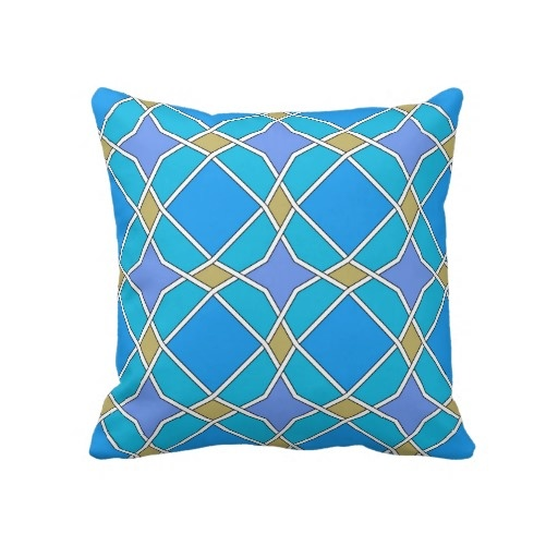 blue geometric pattern pillow