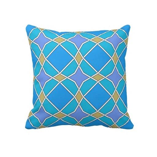 blue geometric pattern pillow