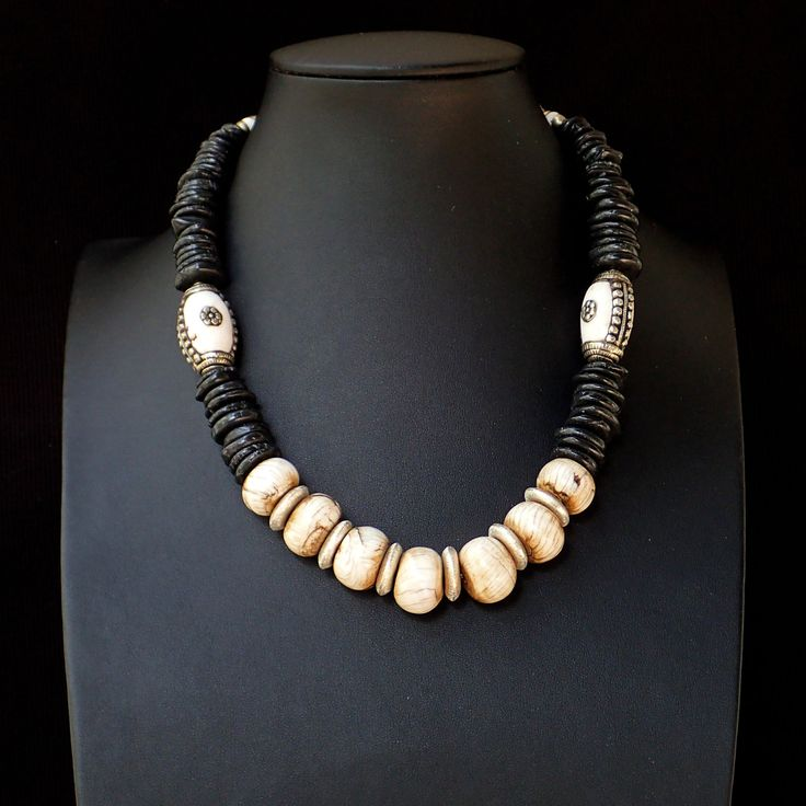 Necklace with petrified aged shell, black agate slices, silver discs, silver clasp.Statement,handmade,gemstone, black & white,for her,unique by Menir on Etsy
