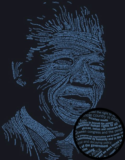 A stunning T-shirt from African Cream Music record company that features Mandela's face in the words of his speeches. www.africancreammusic.co.za