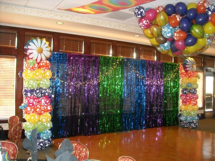 Disco backdrop (Groovy theme party) with balloon drop! Birthday Party. Graduation Party. Family reunion.