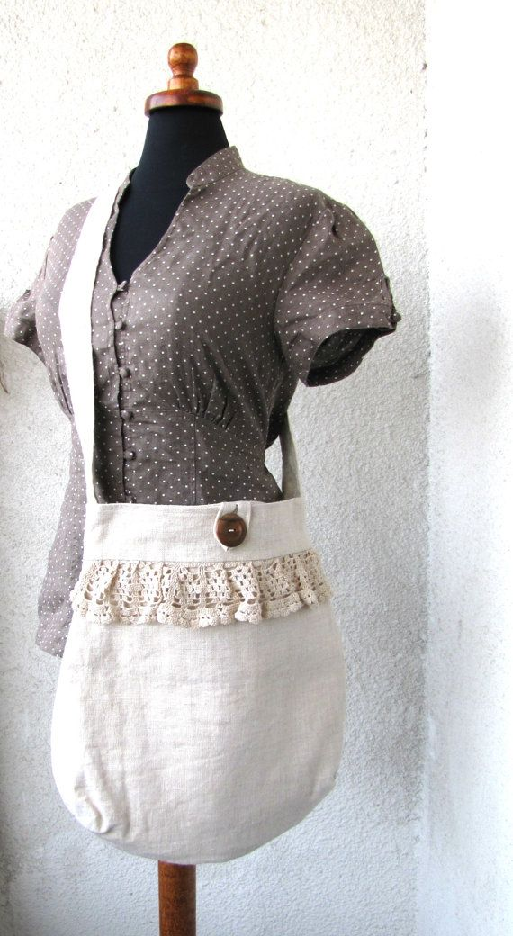 Gorgeous natural linen and vintage lace by bag!  I love this!  Could be a great gift idea too...