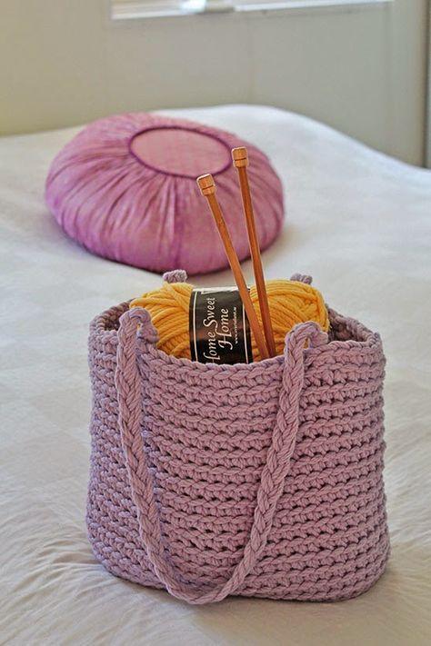 Svarta Fåret : Virkad väska i Home Sweet Home