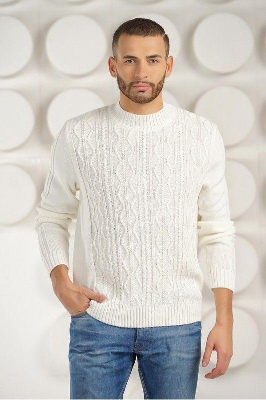 Белый мужской свитер из тонкой шерсти