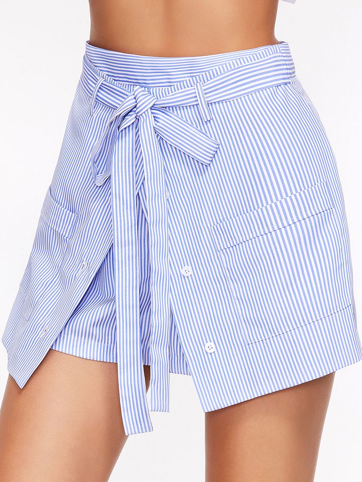 Shop Blue Striped Buttoned Overlap Front Belted Shorts online. SheIn offers Blue Striped Buttoned Overlap Front Belted Shorts & more to fit your fashionable needs.
