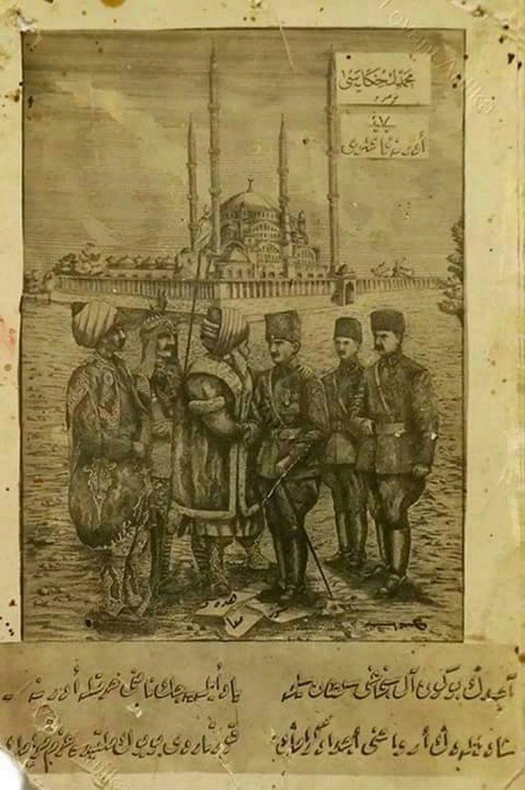 Atatürk ve silah arkadaşlarını karşılayanlar; - Alparslan, - Fatih - Sevr'i ezen Atatürk'ü kucaklayan Mimar Sinan Ve arkada Selimiye Camisi...