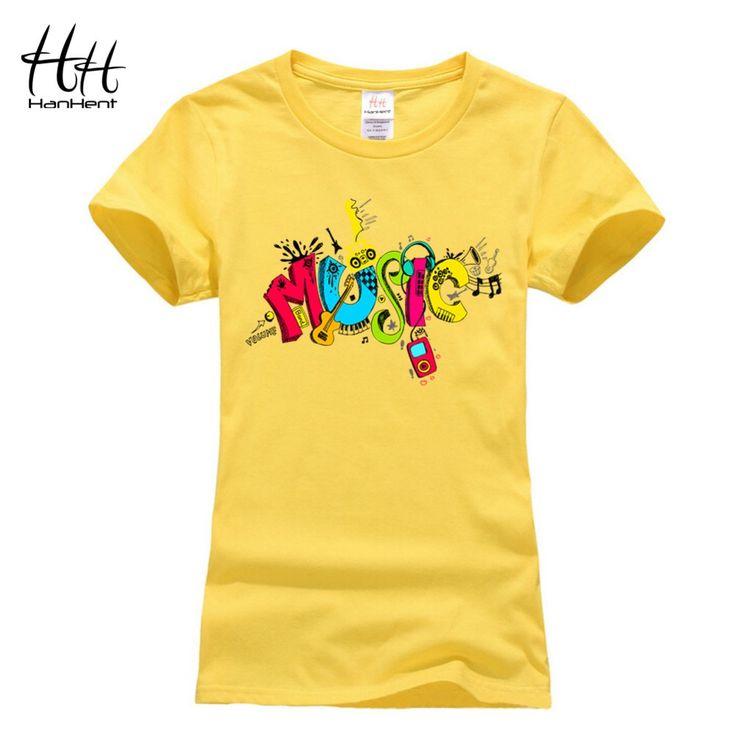 HanHent Women Music Letter T-shirt Punk Rock Tee shirts Girl Fashion Cotton Summer T shirt Rap Hip Hop Camisas Femininas 2016