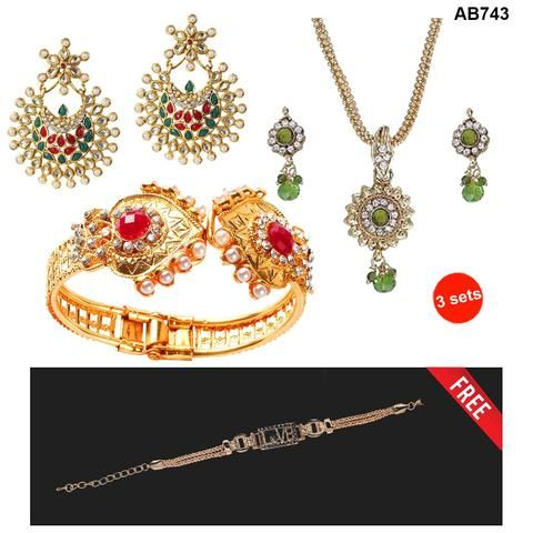 COMBOS-Multi Color  Alloy Jewellery Set - 1303751 , 1201806 , 1400217 , 1400535