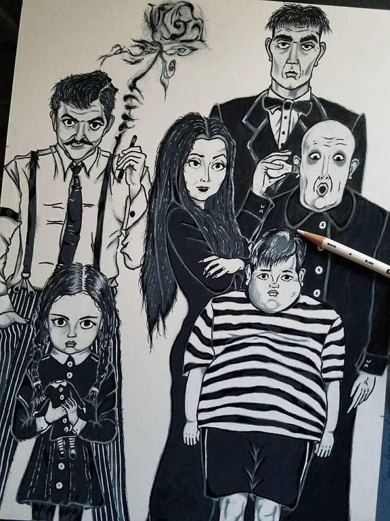 Hey, I found this really awesome Etsy listing at https://www.etsy.com/listing/531345092/the-addams-family-character-art-print