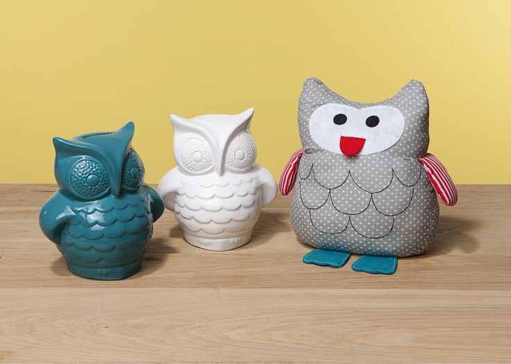 More for the owl lovers! Ceramic moneybox in teal or white and door stops, only $8 each from The Reject Shop.