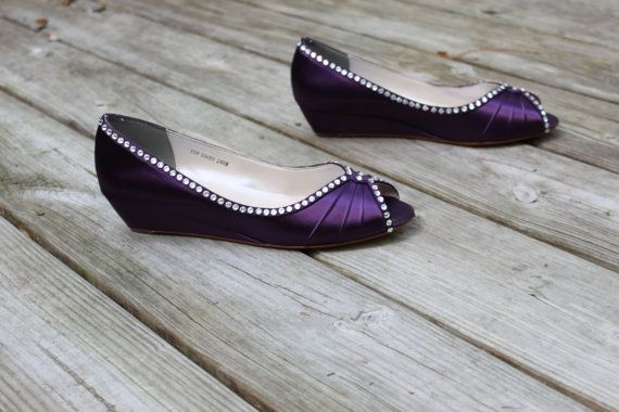Purple Wedding Shoes Wedge Low Heel 1 Inch By TheCrystalSlipper 20000