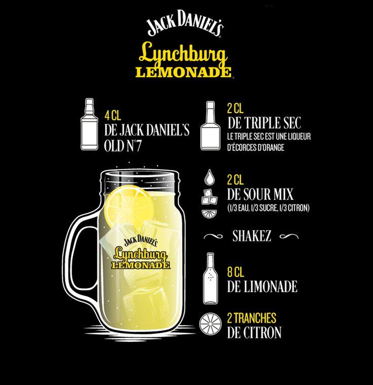 Lynchburg Lemonadecl 4cl de Jack Daniel's 2cl de triple sec 2cl de sour mix - shakez - ajouter les glaçons 8cl de limonade 2 tranches de citron