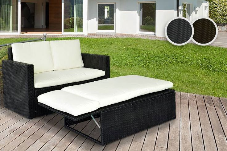 2-Person Rattan Love Sofa Set - 2 Colours! deal in Sheds & Garden Furniture Recline in style with a two-person rattan chaise end corner sofa set.   With a love seat, matching folding footrest and four removable cushions.   No assembly required, simply choose black or brown.  Washable cream pillowcases.   Love seat is 123cm x 65cm x 72cm.  The perfect addition to your conservatory or garden...
