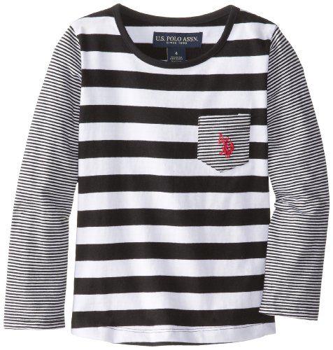 U.S. POLO ASSN. Little Girls' Long Sleeve Striped Jersey Pocket T-Shirt, Black, 6X. Pony logo embroidered on pocket. Long sleeve striped pocket T-shirt. Rib around neck matches darker stripe. Cotton Jersey.