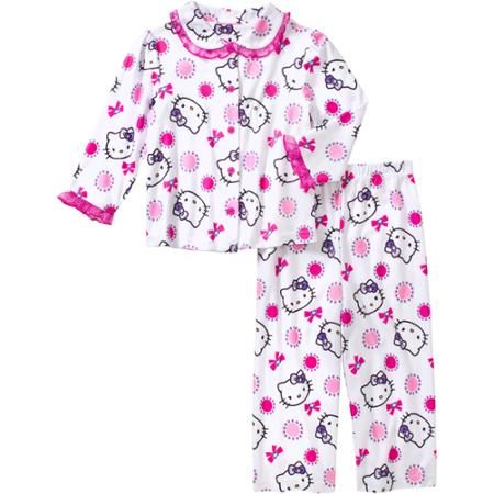 Hello Kitty Baby Toddler Girl Button Down Pajama Sleepwear Set - Walmart.com