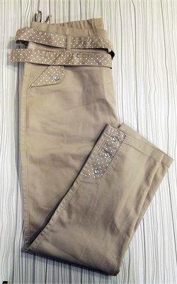 Bayan Büyük Beden Taş Detaylı Likralı Pantolon