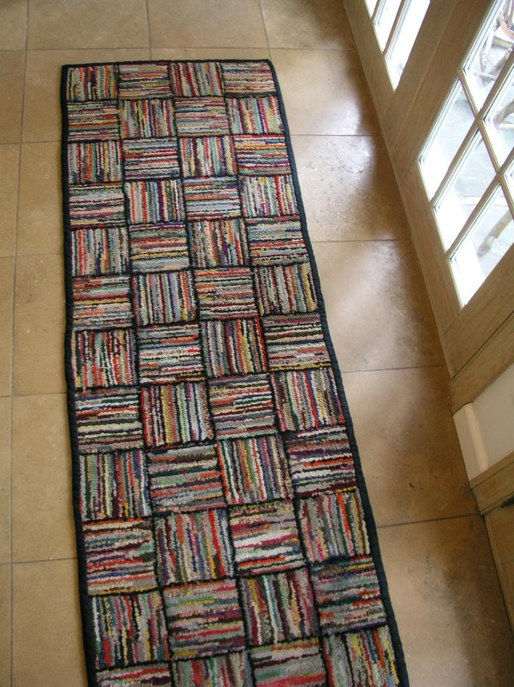 Very RARE Antique Geometric Weave American Hooked Rug Runner   eBay