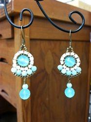 Chrysacola, pearl and amazonite chandelier earrings