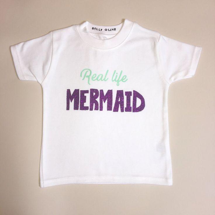 'Real Life Mermaid' Tee, mermaid fashion, mermaid hair shirt, mermaid outfit, mermaid party outfit, mermaid girls outfit
