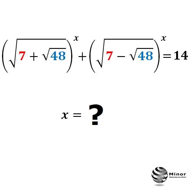 Wyznacz wszystkie możliwe rozwiązania równania wykładniczego w liczbach rzeczywistych.] Find all possible solutions for x = ? in real numbers.