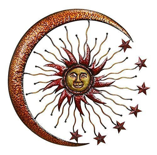 "Deco 79 42770 Metal Sun Moon Wall Decor, 36"" New #Deco79"