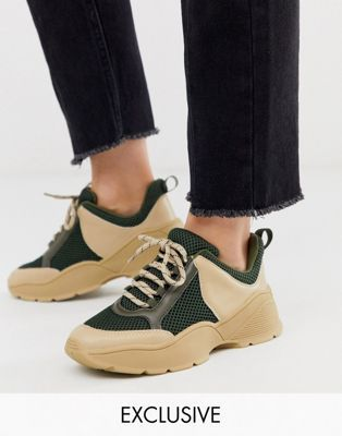Monki Chunky Trainers In Khaki And Beige Asos Sneakers