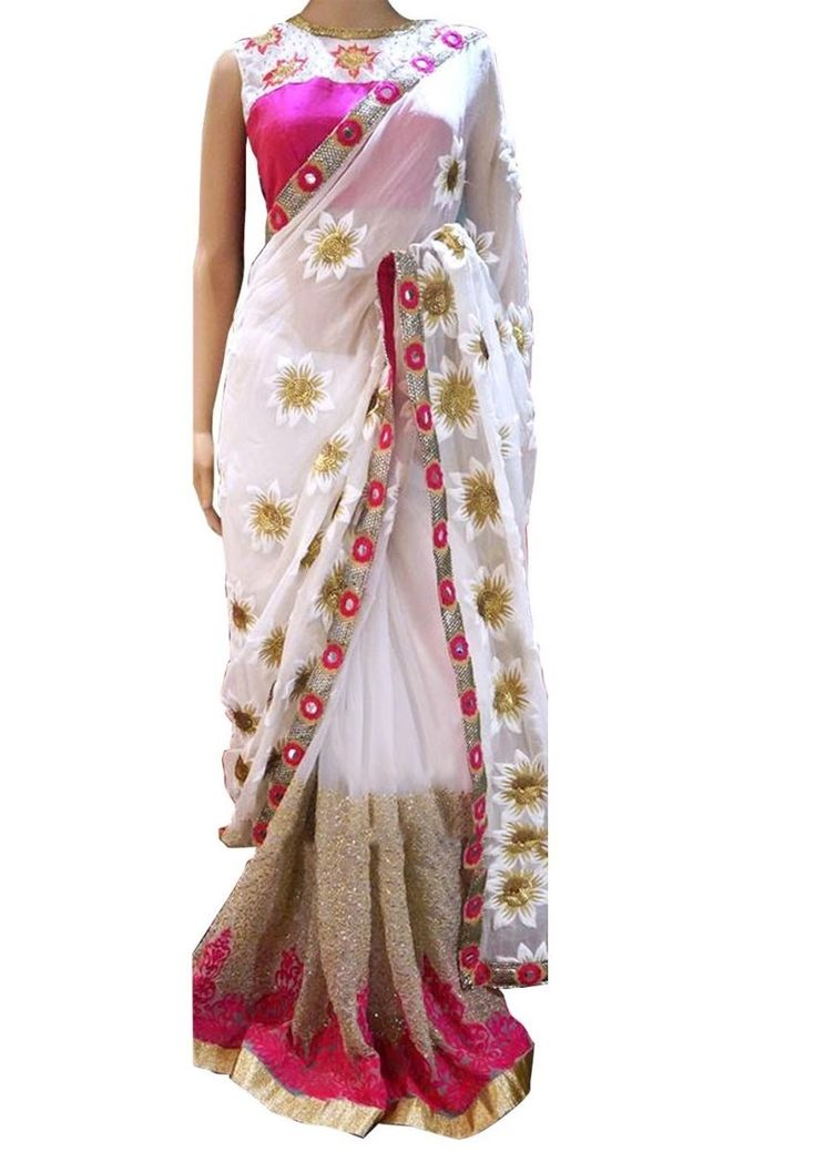 Shop Inspired style white and pink color georgette party wear saree at kollybollyethnics with free shipping offer to USA, UK, Australia,Canada and many countries.